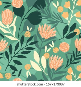 Protea and eucalyptus leaves pattern. Seamless motif for wrapping, wallpaper, fabric, decoration print. Vector illustration