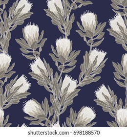 Protea flower vector illustration. Seamless pattern design on a navy blue background.