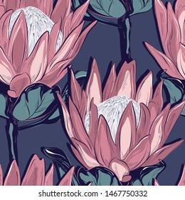 Protea seamless pattern design. Hand-drawn flower sketch. Botanical drawing, foliage background. Design  for wedding, invitation, web, banner, card, pattern, wallpaper vector illustration.