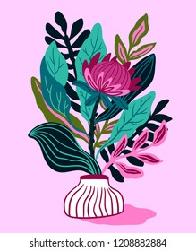Protea with tropical leaf on the pink background. Floral print design for t-shirt. Exotic flower in hand drawn style. Vector illustration.
