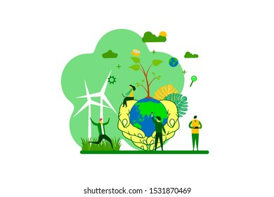 protect the earth. illustrations of hands grasping the earth Tiny People Character Concept Vector Illustration, Suitable For web landing page,Wallpaper, Background, Card, banner,Book Illustration