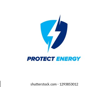 Protect Energy logo design. Shield with lightning inside. Electrical safety icon. Lightning bolt sign in the shield. Modern vector symbol of electric power protection