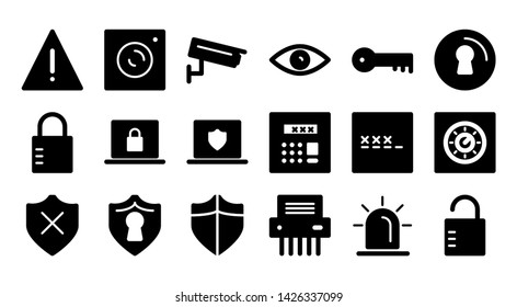protect glyph icon symbol set