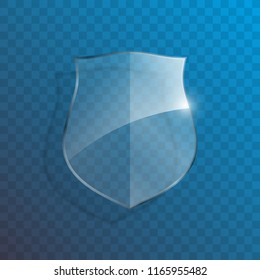 Protect guard glass shield concept. Safety badge protection icon. Privacy transparent banner shield. Security glass label. Presentation transparent sticker shield. Defense safeguard sign. Vector badge