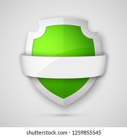Protect guard shield banner concept. Safety badge stripe icon. Privacy update banner shield. Security renovation label. Defense tag presentation band sticker shape Defense safeguard stripe shield sign