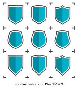Protect guard shield plain line concept. Outline shield badge. Safety icon set. Privacy banner. Security label. Flat protect sticker symbol shape. Safeguard simple sign linear flat shield pictogram