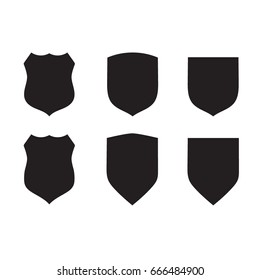Protect guard shield plain line concept. Outline badge. Safety icon set. Privacy banner kit. Security label. Flat style sticker symbol shape. Safeguard simple sign. linear pictogram