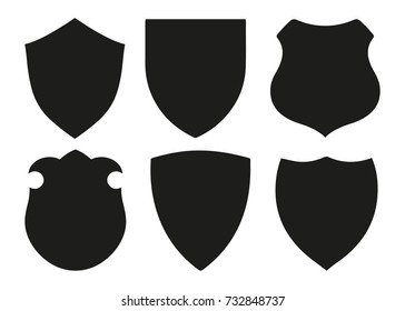 Protect guard shield plain line concept. Badge. Safety icon set. Privacy banner kit. Security label. Flat style sticker symbol shape.