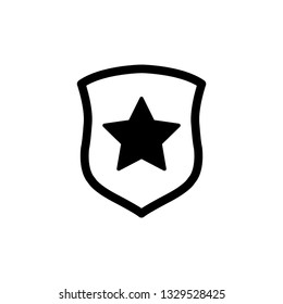 protect icon. secure  line style. Shield with  star icon sign vector