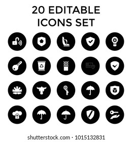 Protect icons. set of 20 editable filled protect icons such as umbrella, shield, cloud protection, opened security lock. best quality protect elements in trendy style.