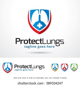 Protect Lungs Logo Template Design Vector