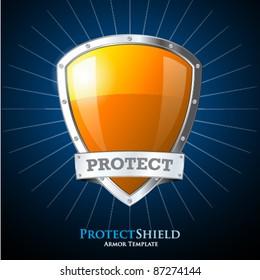 Protect orange shield on blue background