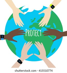Protect Our Environment. World Environment Day. Hands protect the earth globe on white background. Saving the earth concept. Earth Day illustration.