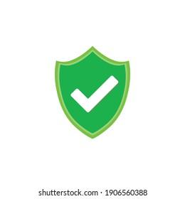 Protect the shield. check mark. vector flat icon