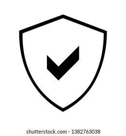 Protect shield icon with ok check mark, isolated on white black design element vector