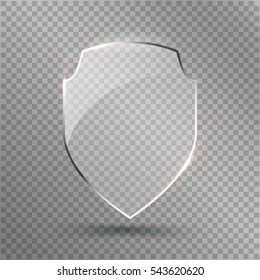 Protect Shield Vector. Safety Glass Badge Icon. Privacy Guard Banner Concept.  Protection Shield. Transparent Decoration Secure Element. Defense Sign. Encryption Symbol Isolated Illustration