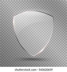 Protect Shield Vector. Safety Glass Badge Icon. Privacy Guard Banner. Transparent Protection Glass Shield Icon. Decoration Secure Element. Defense Sign. Conservation Symbol Illustration