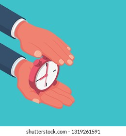 Protect time. Save time concept.  Businessman in hands is holding a watch, alarm clock. Vector illustration isometric design. Save clock. Controlling time. Successful strategy planning.