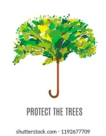 Protect the trees and environment illustration with umbrella, sketchy design. Vector graphic