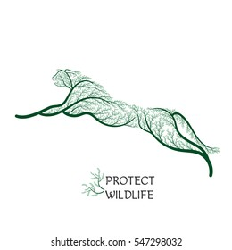 protect wildlife jumping cheetah stylized green bushes for use as logos on cards, in printing, posters, invitations, web design and other purposes.