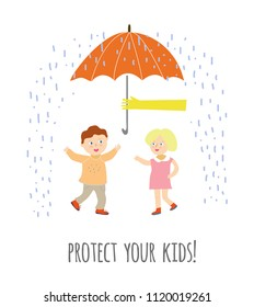 Protect your children concept illustration with kids and umbrella, vector graphic