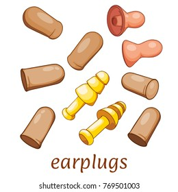 Protect your ears from loud earplugs. Set of different ear plugs on white background. Vector illustration
