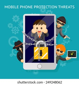 Protect your mobile from the threat. Protection against hacker attacks. Vector illustration