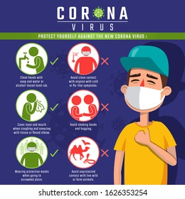 Protect yourself against the Coronavirus, infographic elements the signs and symptoms of the new Corona Virus.