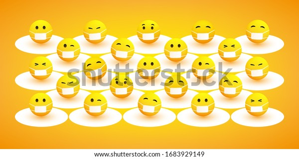 Protect Yourself, Keep Your Social Distancing - Stay Away from Close Personal Contacts to Avoid Infection During the Corona Virus Pandemic - Design Concept with Various Emoji and Facial Expressions