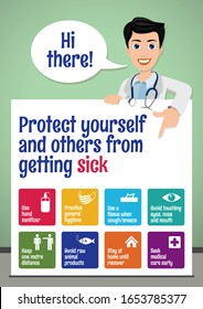 Protect yourself and others from getting sick. Coronavirus prevention poster for school children. Basic protective measures against the new coronavirus. Important information. Stay away from Covid-19.