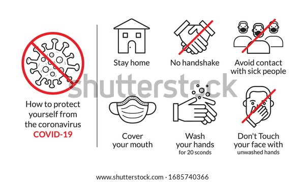 protect yourself tips from coronavirus COVID-19, Stay home, no handshake, sick people, Wash hands, don't Touch face, Cover your mouth mask, set of illustration in infographics, vector, icon, style.