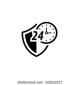 Protected 24-hour Icon. Flat Design. Security Concept with a Shield and a clock. Isolated Illustration. App Symbol or UI element.
