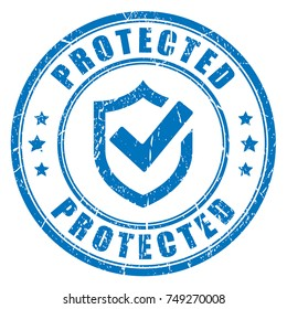 Protected abstract blue vector seal illustration isolated on white background
