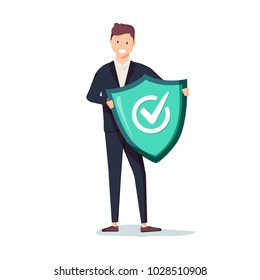 Protected from attack concept. Defender security business metaphor. Man is holding a shield reflecting the attacks. Flat vector illustration concept. Insurance agent with a shield concept