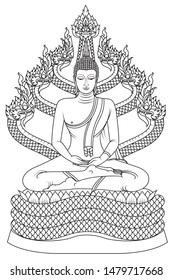 Protected by the Naga King (Pang Nak Prok) The Saturday Buddha image is sitting in a full lotus position in meditation on the coiled body of the naga Muchalinda that used its head as a cover against