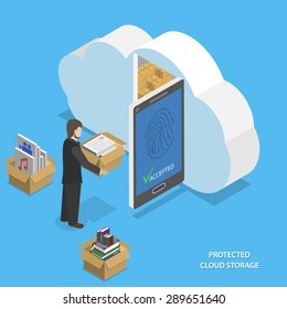 Protected cloud storage flat isometric vector concept. Man places his data to protected cloud storage via smartphone or tablet.