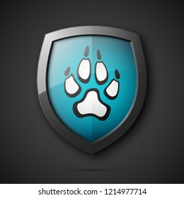 Protected dog track guard shield. Safety badge animal paw icon. Privacy predator track banner shield. Security animal label. Presentation dogs sticker shape. Vector defense safeguard dog shield sign