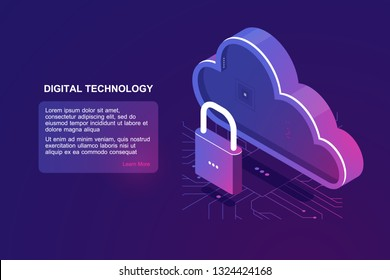 Protected file on remote cloud storage, isometric cloud icon, saved internet provider, reliability document storage, backup download upload ultraviolet vector