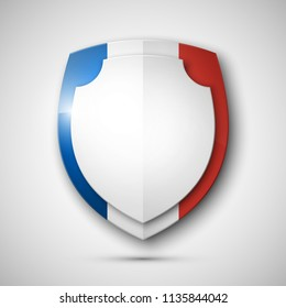 Protected France guard shield concept. Safety French badge icon. Privacy France banner shield. Security label. Defense France tag. Presentation Paris sticker shape. Defense safeguard shield Paris sign