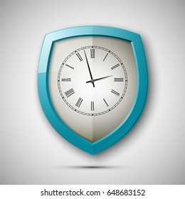 Protected guard shield clock icon . Safety badge watch icon. Privacy colorful banner shield. Security clock label. Defense watch tag. Presentation clock sticker shield. Defense safeguard watch sign