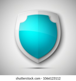 Protected guard shield concept. Safety badge color icon. Privacy colorful banner shield. Security bright label. Defense tag. Presentation shining sticker shape. Vector defense safeguard shield sign