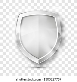 Protected guard shield concept in smoke. Safety badge smoke icon. Privacy banner shield. Security color label. Defense tag. Presentation shining sticker shape. Vector defense safeguard shield in smoke