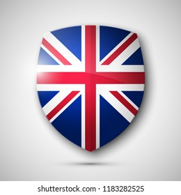 Protected guard shield United Kingdom. Safety badge Great Britain icon. Privacy Britain banner shield . Security G.B. defense label. Presentation kingdom sticker shape. Defense safeguard shield sign