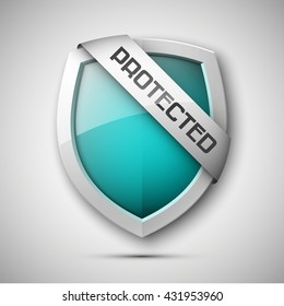 Protected shield concept. Safety badge icon. Privacy banner. Security label. Defense tag. Presentation sticker shape. Defense sign. Vector illustration