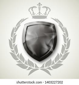 Protected shield wreath crown concept. Safety badge protection garland icon. Privacy corona banner shield. Security label Defense tag. Crown sticker shield. Defense safeguard sign. Vector wreath badge