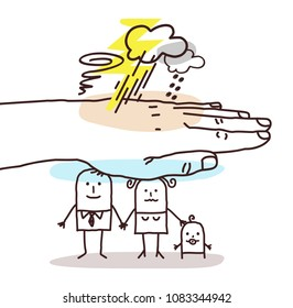 Protecting Big Hand - Cartoon Family and Stormy Weather