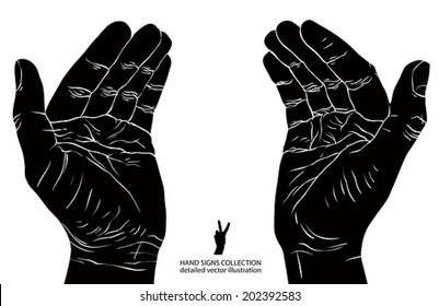 Protecting empty hands with place for some small object, detailed black and white vector illustration.