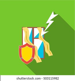 Protecting home from lightning icon. Flat illustration of protecting home from lightning vector icon for web
