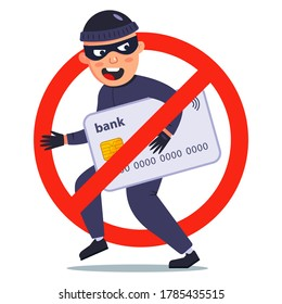 protection against theft of a bank card. a fraudster stole money. flat vector character illustration.