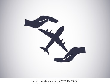 protection of air travel, insurance sign web icon. vector design